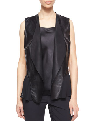 Shelene Leather Vest W/ Georgette