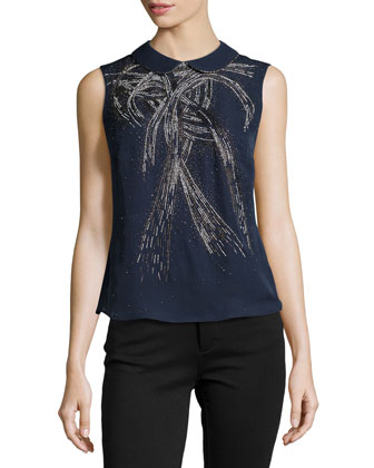 Silk Collared Beaded Blouse, Midnight