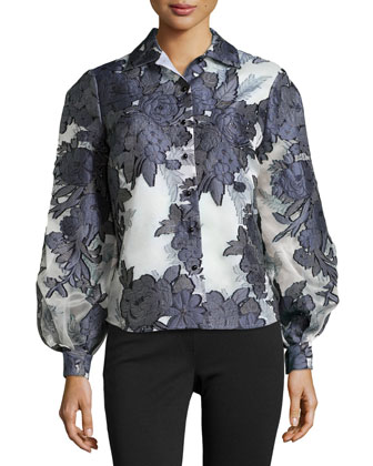 Floral Jacquard Button-Front Blouse
