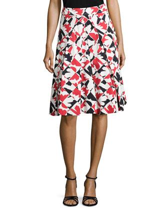 Diamond-Print A-Line Skirt