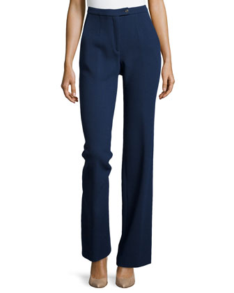 Wool Crepe Pants, Navy