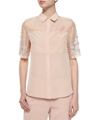 Bead-Embellished Silk Top