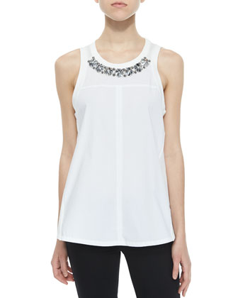 Beaded Sleeveless Jersey Top