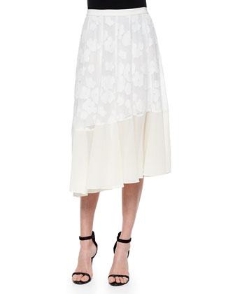 Lace-Inset Belted Suiting Vest & Asymmetric Mixed-Fabric Midi Skirt