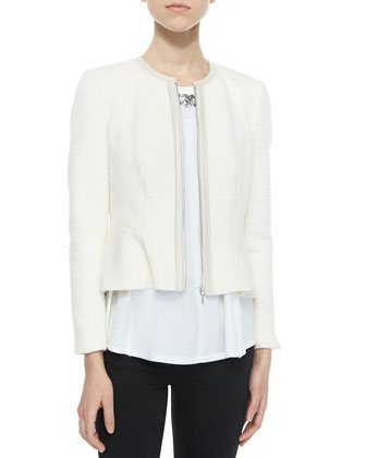 Double-Face Knit Ruffle Jacket & Beaded Sleeveless Jersey Top