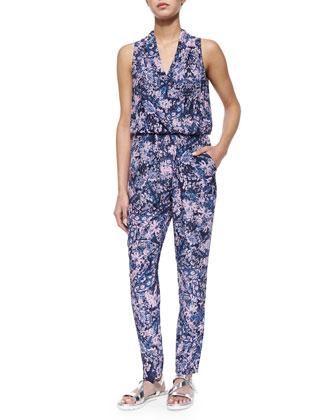 Kiku Printed Draped Sleeveless Jumpsuit