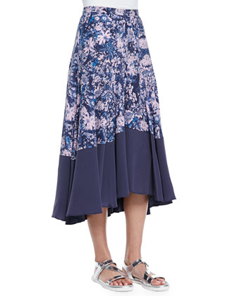 Kiku Floral-Print/Solid Skirt