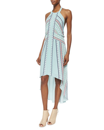 High-Low Printed Halter Dress, Aquamist Combo