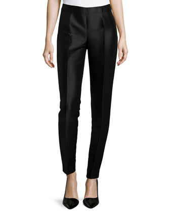 Shantung Straight-Leg Pants, Black