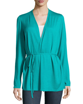Long-Sleeve Wrap Cardigan W/ Self-Tie