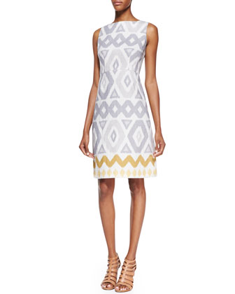 Janeca Sleeveless Printed Dress, Raffia