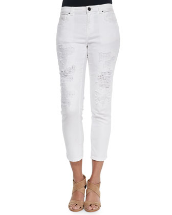 Distressed Eyelet Cropped Jeans