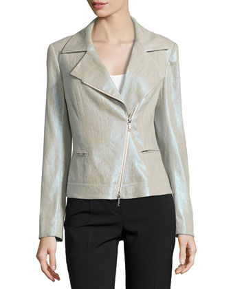 Metallic Linen-Blend Moto Jacket