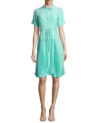 Sunburst Tie-Waist Pleated Shirtdress, Aqua