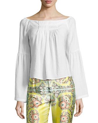 Surfboard-Print Straight-Leg Pants & Island Party Peasant Top