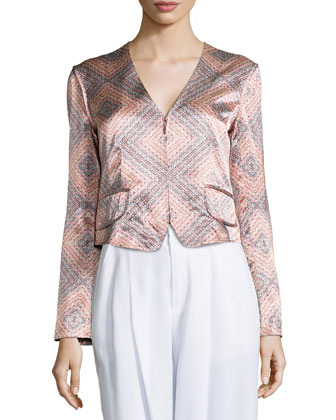 Sunset-Print Structured Jacket