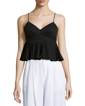 Pleated Peplum Tank Top, Black