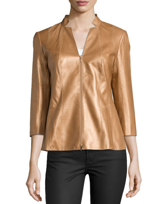 Tara Three-Quarter Sleeve Leather Jacket, Copper