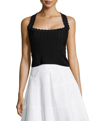 Corset Top with Scallop Detail, Black
