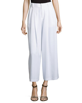 Promenade Wide-Leg Pants, White