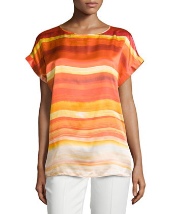 Donna Short-Sleeve Top, Begonia Multi