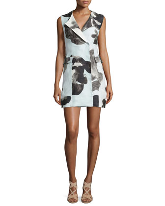 Printed Crepe Vest Dress