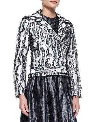 Giamaica Fringe Moto Jacket & Grace Sleeveless Plisse Dress