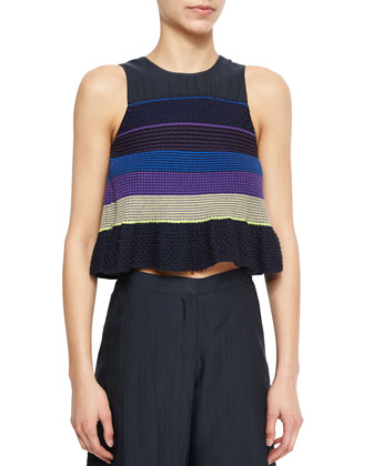 Shantung/Knit Striped Combo Top