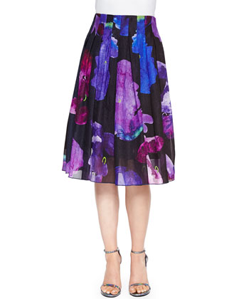 Novara Overlapping Sleeveless Shantug Top & Crepon Printed Plisse A-Line Skirt