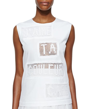 J'Aime Perforated-Text Sleeveless Jersey Top