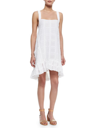 Kemper Embroidered Ruffle-Hem Dress