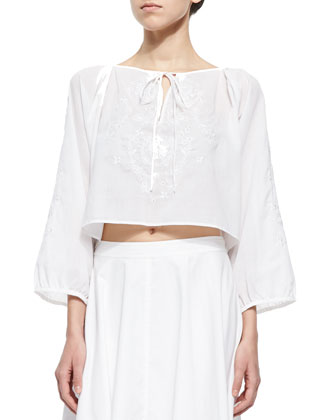 Carly Embroidered Tie Crop Top