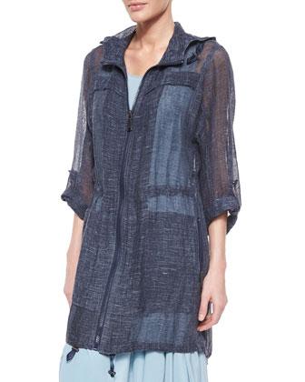 Molly Sheer Linen Long Coat & Tammie Sleeveless Silk Handkerchief Dress
