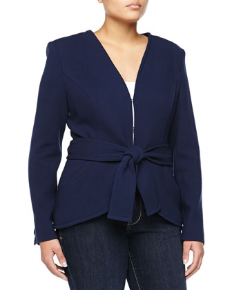 Tie-Waist Stretch-Wool Jacket, Navy
