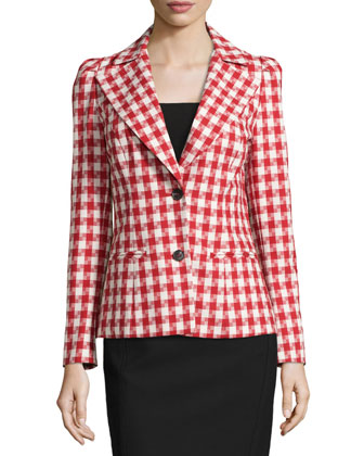 Woven Two-Button Houndstooth Jacket