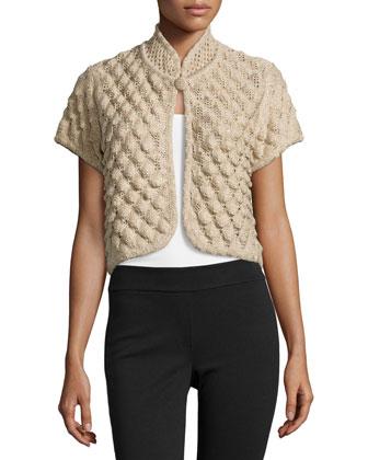 Short-Sleeve Popcorn-Knit Bolero, Beige/Gold