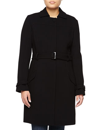 Tie-Waist Wool-Blend Coat, Black