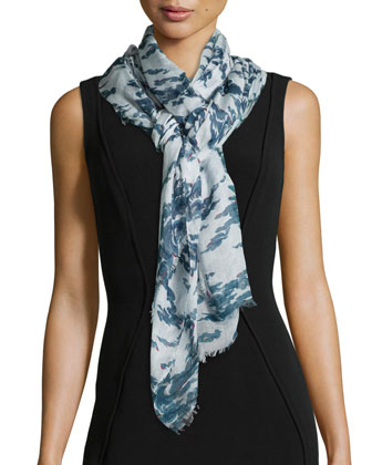 Abstract Print Scarf with Fringe Hem