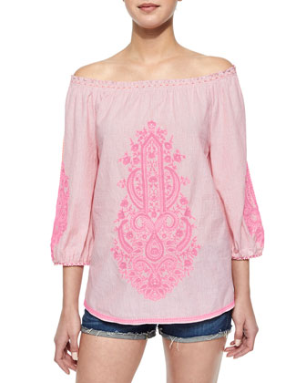 Cai Cai Embroidered Voile Top