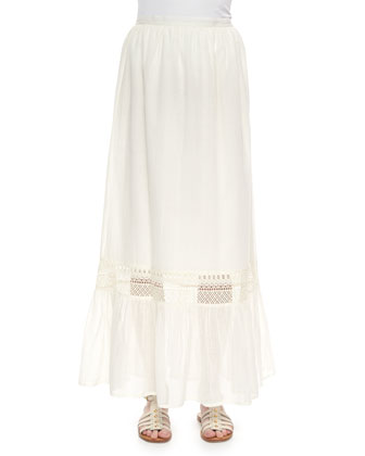 Pleated Voile Maxi Skirt