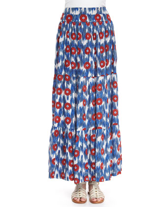 Ikat-Print Tiered Maxi Skirt