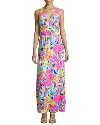Amalie Long-Sleeve Open Cardigan & Amanda Floral-Print Maxi Dress