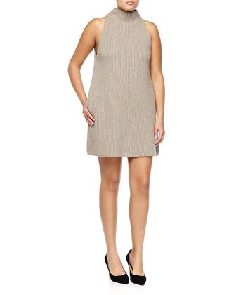Ribbed Mock-Neck Shift Dress, Gray
