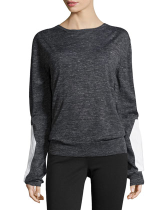 Long-Sleeve Silk-Blend Pullover