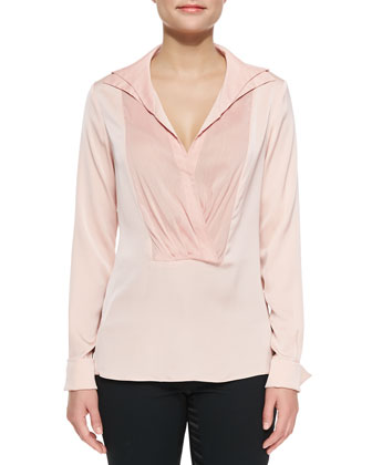 Long-Sleeve Draped-Front Shirt