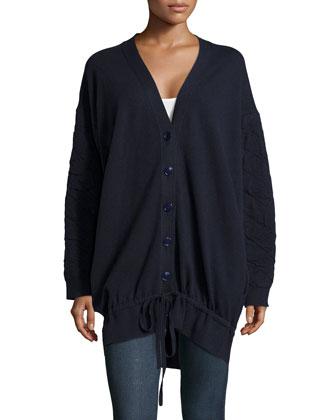 Oversized Wool-Blend Cardigan Sweater