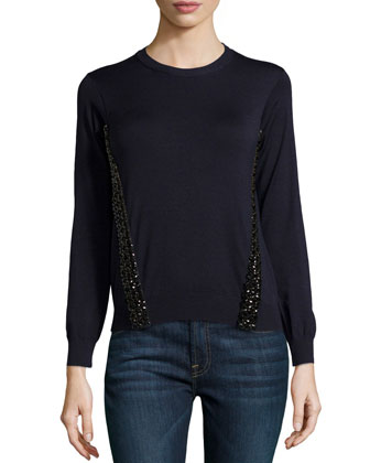 Long-Sleeve Sweater with Beaded Trim
