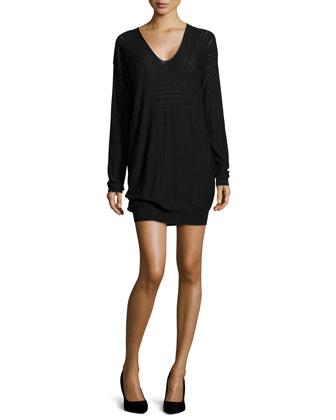 V-Neck Wool Sweater Dress