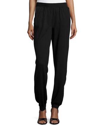 Cotton Knit Tapered Leg Pants, Black
