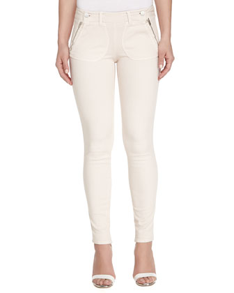 Double-Button Skinny Ankle Pants, Light Pink